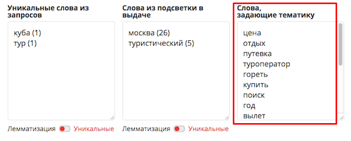 Пример подбора LSI-запросов в Pixel Tools